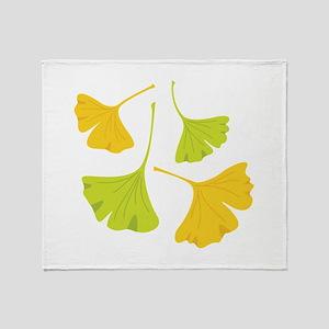 Ginkgo Leaves Art Nouveau Throw Blanket