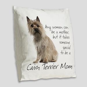 Cairn Terrier Mom Burlap Throw Pillow