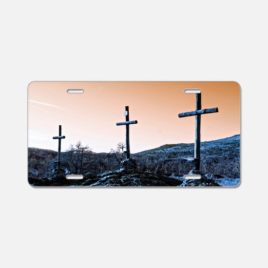 The Three Crosses Aluminum License Plate
