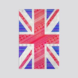 Modern Abstract White Aztec UK Un Rectangle Magnet
