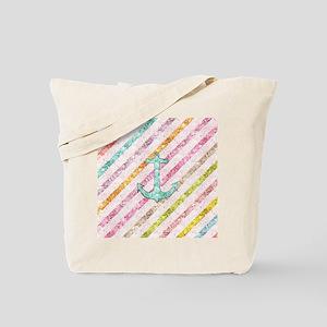 Aqua Glitter Nautical Anchor Girly Rainbo Tote Bag
