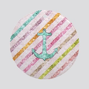 Aqua Glitter Nautical Anchor Girly  Round Ornament