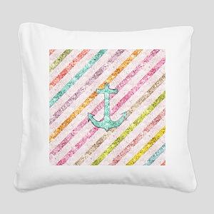 Aqua Glitter Nautical Anchor  Square Canvas Pillow
