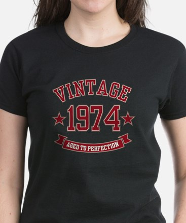 Vintage Aged to Perfection 1974 Women's Dark T-Shi