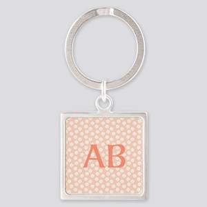 Coral Peach Pink Floral Monogram Design Square Key
