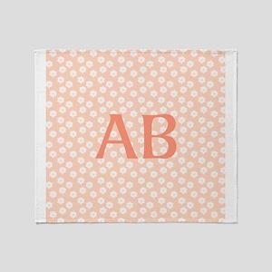 Coral Peach Pink Floral Monogram Design Throw Blan