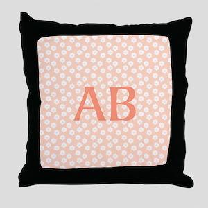 Coral Peach Pink Floral Monogram Design Throw Pill