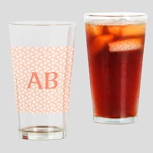 Coral Peach Pink Floral Monogram Design Drinking G