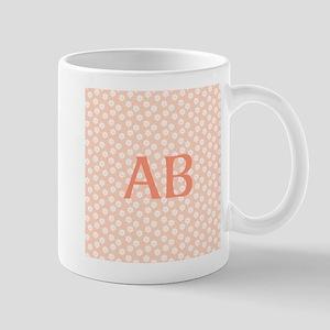 Coral Peach Pink Floral Monogram Design Mug