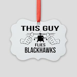 This Guys Flies Blackhawks Picture Ornament