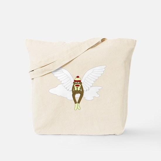 Sock Monkey Guardian Angel Wings Tote Bag