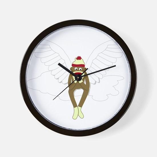Sock Monkey Guardian Angel Wings Wall Clock