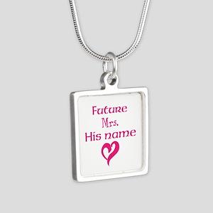 Personalize,Future Mrs. Silver Square Necklace
