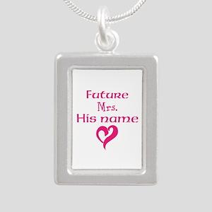 Personalize,Future Mrs. Silver Portrait Necklace