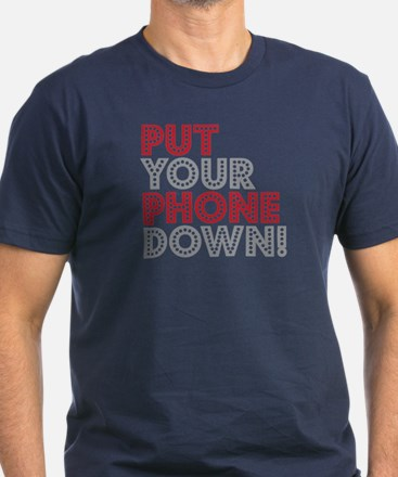 Put Your Phone Down Men's Fitted T-Shirt (dark)