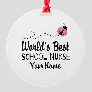World's Best School Nurse Round Ornament