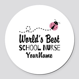 World's Best School Nurse Round Car Magnet