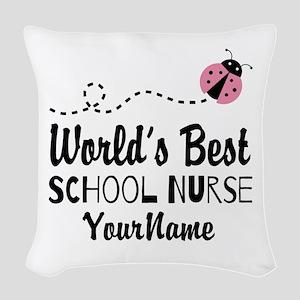 World's Best School Nurse Woven Throw Pillow