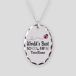 World's Best School Nurse Necklace Oval Charm