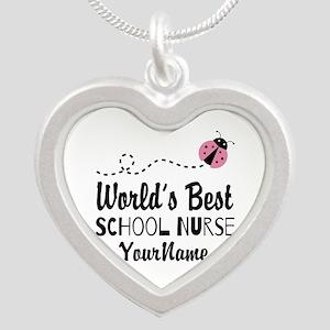 World's Best School Nurse Silver Heart Necklace