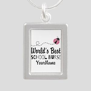 World's Best School Nurse Silver Portrait Necklace