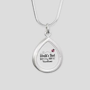 World's Best School Nurse Silver Teardrop Necklace