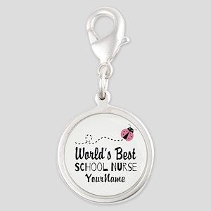 World's Best School Nurse Silver Round Charm