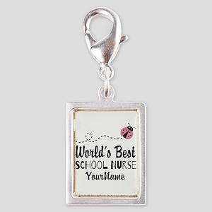 World's Best School Nurse Silver Portrait Charm