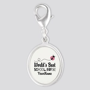 World's Best School Nurse Silver Oval Charm