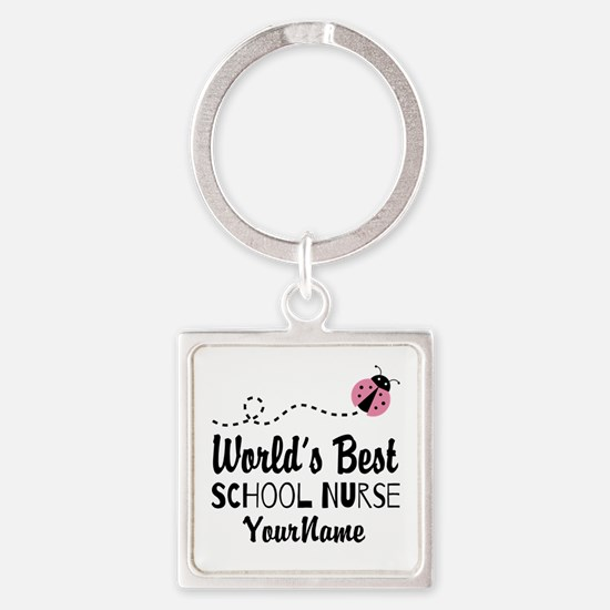 World's Best School Nurse Square Keychain