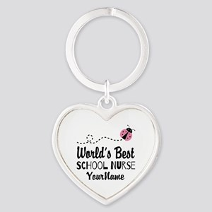 World's Best School Nurse Heart Keychain