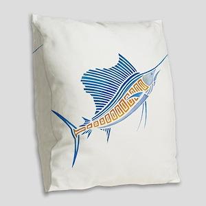 Tribal Sailfish Burlap Throw Pillow