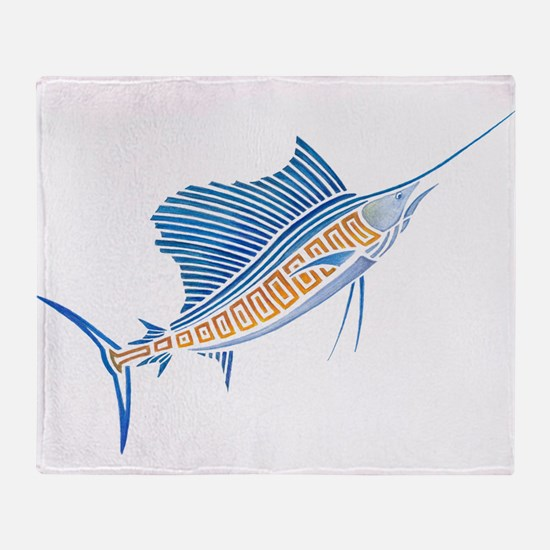 Tribal Sailfish Throw Blanket