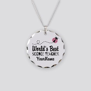 World's Best Science Teacher Necklace Circle Charm