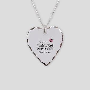 World's Best Science Teacher Necklace Heart Charm