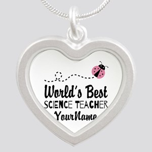 World's Best Science Teacher Silver Heart Necklace
