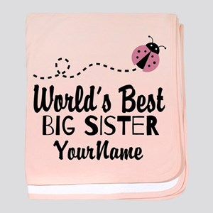 Worlds Best Big Sister - Personalized baby blanket