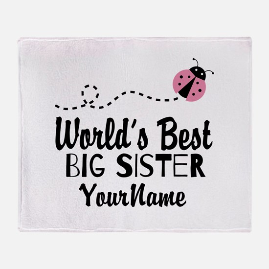 Worlds Best Big Sister - Personalized Throw Blanke