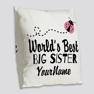 Worlds Best Big Sister - Personalized Burlap Throw