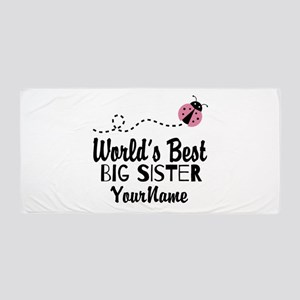 Worlds Best Big Sister - Personalized Beach Towel