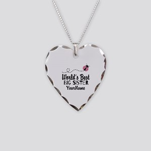 Worlds Best Big Sister - Personalized Necklace Hea