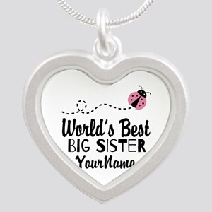 Worlds Best Big Sister - Personalized Silver Heart