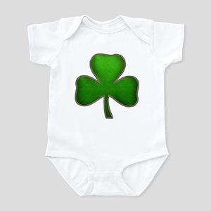 Irish Shamrock Sewn Leather Look Infant Bodysuit