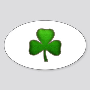 Irish Shamrock Sewn Leather Look Sticker (Oval)