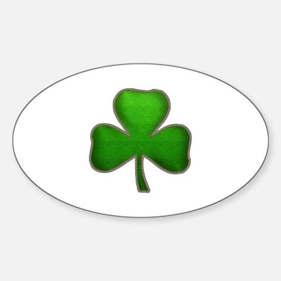 Irish Shamrock Sewn Leather Look Sticker (Oval)