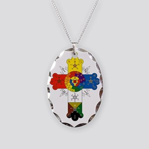 Rosicrucian Cross Necklace Oval Charm