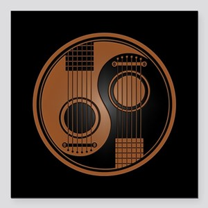 Brown Yin Yang Acoustic Guitars with Black Back Sq
