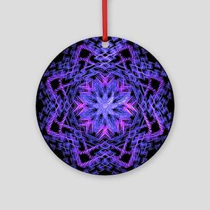 Pretty Purple Fractal Round Ornament