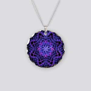 Pretty Purple Fractal Necklace Circle Charm