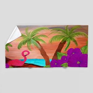 Flamingo In Paradise Beach Towel
